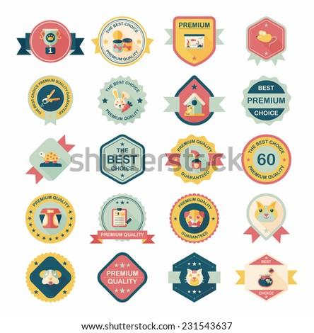 Pet badge flat banner design background set, eps10