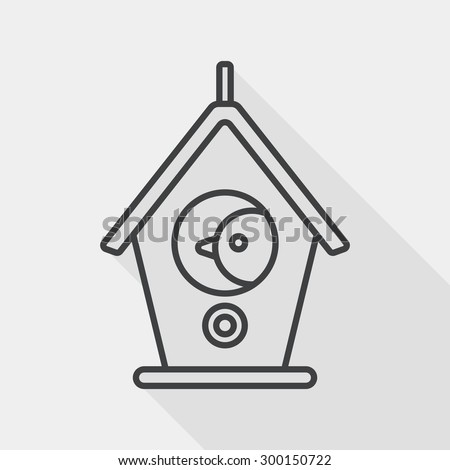 pet bird house flat icon with