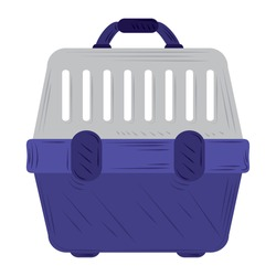 pet cage transport, travel accessories on white background vector illustration