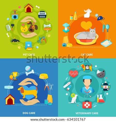 Pet care acessories for home and vet clinic 2x2 isons set on colorful backgrounds flat isolated vector illustration