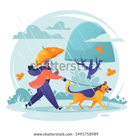 pet care concept man walking