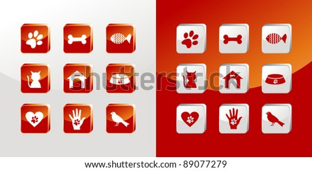 Pet care icons glass set over light and dark background. Vector file available