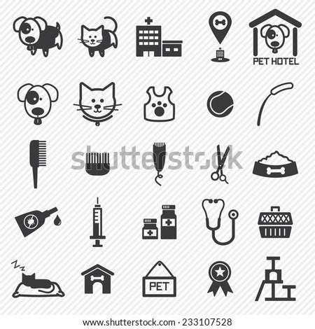 pet care icons set