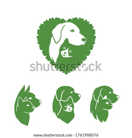 Pet care logo design with dog and cat for your pet shop, pet care, veterinary clinics, veterinary hospital and animal shelters homeless, etc. Pet dog and cat icon. Vector illustration.
