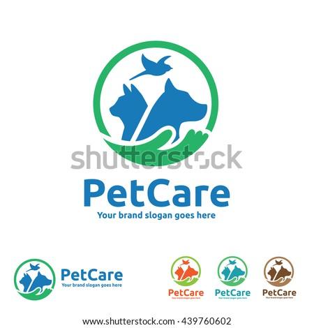 Pet Care Logo with Dog, cat and Bird Symbols