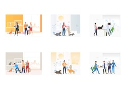 Pet care set. People adopting or buying pets, playing with cats, dogs, rabbit, visiting veterinary. Flat vector illustrations. Animal care concept for banner, website design or landing web page