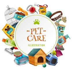 Pet care supply accessories and products decorative round frame composition with kennel doghouse and birdcage vector illustration
