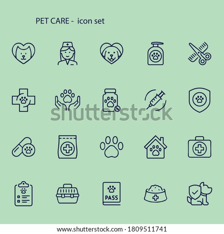 PET CARE - thin line vector icon set stock illustration. Set contains such icons as Dog, Cat, Pets, Veterinarian, Grooming, Pet Food, Pet Carrier, Doctor, Paw Print, Pet Exam.