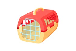 Pet carrier with metal door. Red and orange carrier to transport animals in voyages. Vector illustration in cute cartoon style