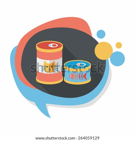 pet cat food can flat icon with