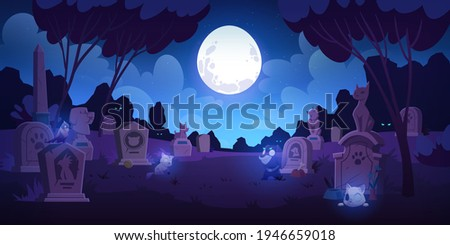 Pet cemetery at night, animal graveyard with tombstones, grave tombs with cats, dogs and birds souls near monuments with their photos under full moon in dark starry sky, Cartoon vector illustration