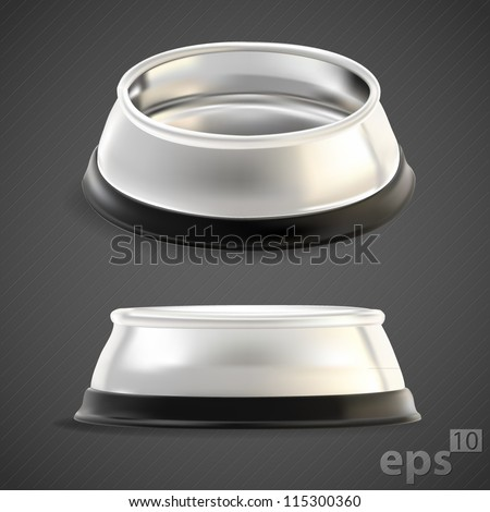 Pet chrome food bowl, empty, chrome metal with black edging, eps10 vector mesh