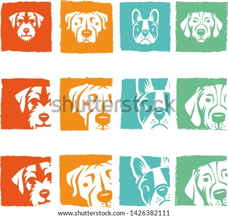 Pet Dogs head Logo icons rescue Cute faces fleas groomers breeds