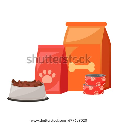Pet food. Food for cats and dogs. Bowl, Packaging, Advertising. Vector flat illustration