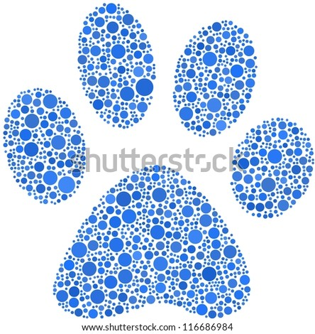 Pet footprint in a mosaic of blue circles. A number of 1485 bubbles are inserted into the mosaic