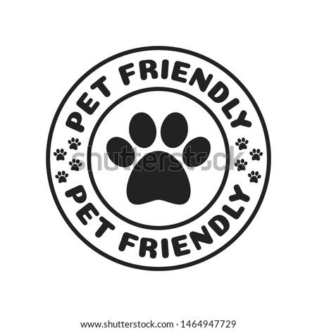 Pet Friendly, Dog Friendly Paw Print Logo Branding Vector Illustration Background