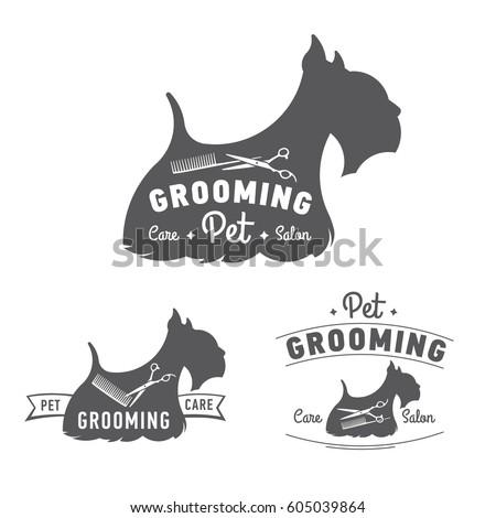 Pet grooming logo set. Scottish terrier icon. Vector illustration