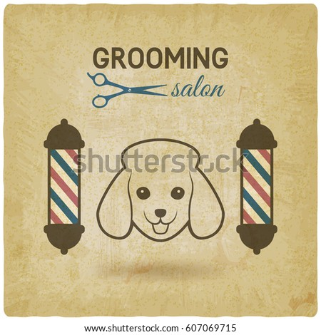 pet grooming salon logo design vintage background. vector illustration - eps 10 #607069715