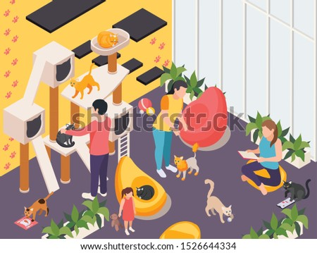 Pet hotel and day care center facility interior isometric compositions with playground gym for cats vector illustration