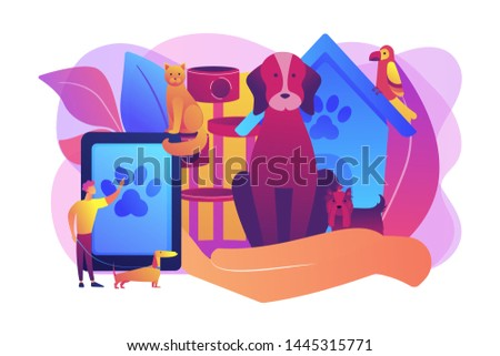 Pet hotel, daycare. Bringing puppy to grooming, veterinary service. Pet services, pets care services, we offer the best for your pet concept. Bright vibrant violet vector isolated illustration