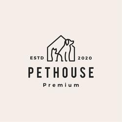 pet house dog cat hipster vintage logo vector icon illustration