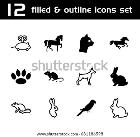 pet icon set of 12 pet filled and outline icons such as rabbit horse
