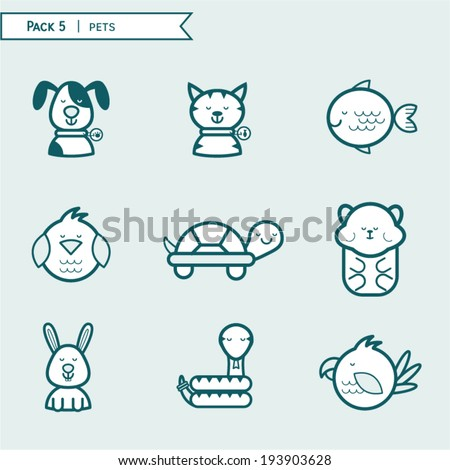 Pet icons, animals icons, pack icon blue