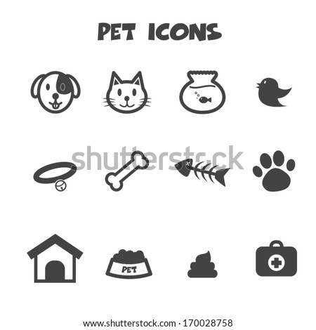 pet icons, mono vector symbols