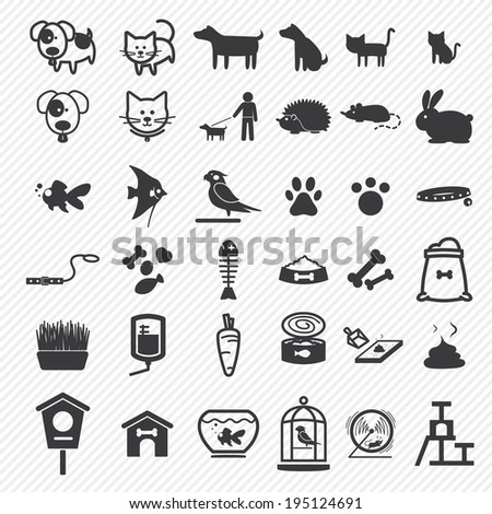 Pet icons set. illustration eps10