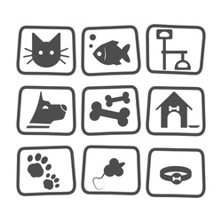 Pet icons set with fish , dog , cat and mouse isolated on white. Black animal pet collection symbol care veterinary. Icon pet collection