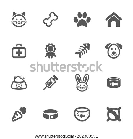 Pet icons, vector.