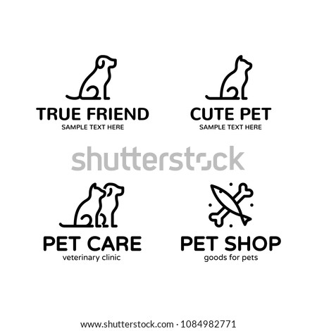 Pet logo design template set. Vector cat, dog, fish sign and symbol collection. Animal friend illustration isolated on background. Modern care and goods label badge for veterinary clinic, zoo, petfood