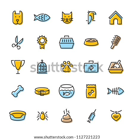 Pet logo design template set. Vector veterinary sign and symbol collection. Thin line web icon illustration on background. Linear pictograms of animal, paw, collar, grooming, mite, poo, food and more