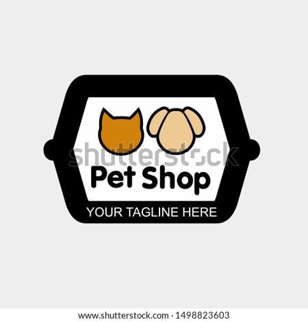 Pet Logo , Home pets shop dog cat design vector , Shop sign pet , pet