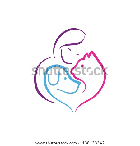 Pet lover. People, Cat and Dog.Pet care logo. illustration women hug dog and cat, heart pet