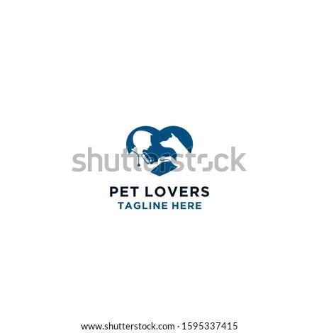 Pet lovers, pet hospital, pet doctor, vector logo concept.