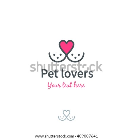 Pet nose in form of heart logo template. Vector illustration.