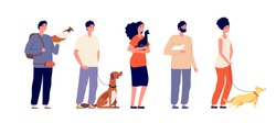 Pet owners. Man woman hugging pets. Isolated people with cat dog, bird and rat. Domestic animals, standing young friends vector characters