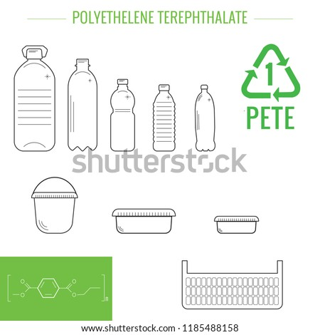 PET (PETE)  - polyethylene terephthalate. Symbol of plastic recycling and types of plastic products.