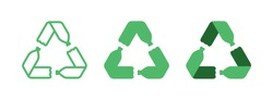 Pet plastic bottles form mobius loop or recycling symbol with arrows. Recycle plastic. Eco pet use concept. Set of recycling icons in different sytles - outline, glyph and flat.. Vector illustration