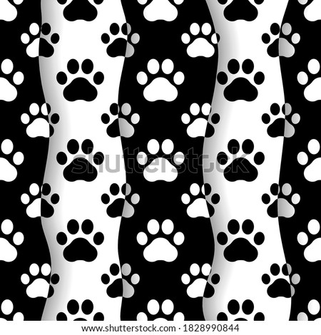 Pet prints. Paw seamless pattern. Cute background for pets, dog or cat. Foot puppy. Black silhouette shape paw. Footprint pet. Animal track. Trace foot dog, cat. Design walks pet for print. Vector