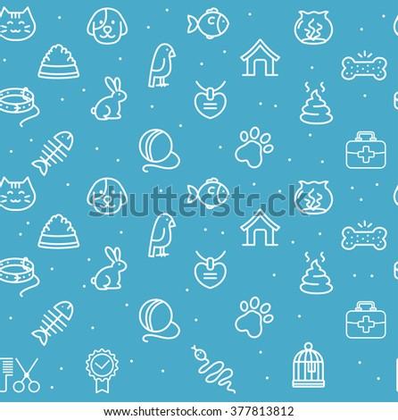 pet seamless pattern on a blue