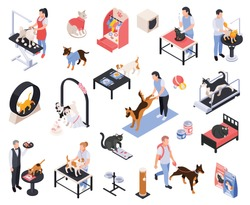 Pet services dogs grooming boarding walking fitness feeding vet examination vaccination isometric icons set isolated vector illustration