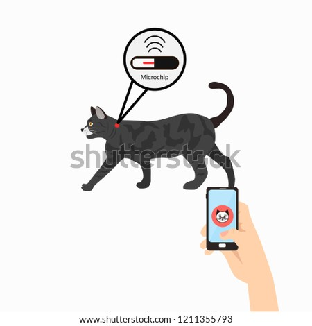 Pet services - microchipping. Icon dogs with microchip pill inside the body and information about owner tagged with a microchip implant.