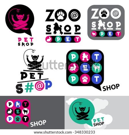 pet shop animal logo sign