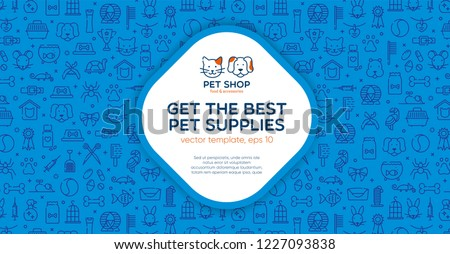Pet shop banner template with logo badge and outline pattern in square form. Card flyer poster illustration with your text for veterinary clinic, zoo, petfood. Flat style vector illustration.