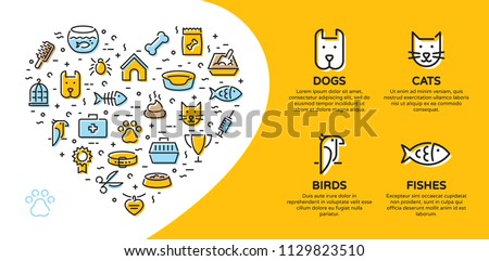 Pet shop banner template with vector graphic icon set in heart form. Card flyer poster illustration with your text for veterinary clinic, zoo, petfood. Flat style design with cat, dog, fish, bird