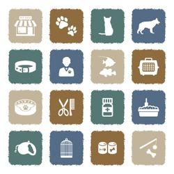 Pet Shop Icons. Grunge Color Flat Design. Vector Illustration.