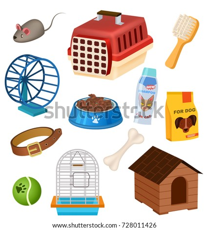 Pet shop icons set in cartoon style. Doghouse, collar, grooming brush, carrying case, preserved food, bowl, pet toys, bone elements. Pet store symbols, vet care accessories vector illustrations set.