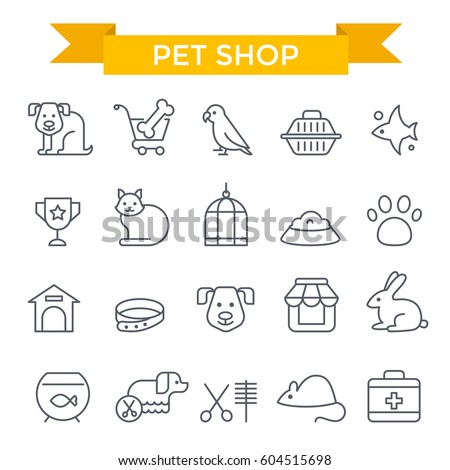 pet shop icons  thin line  flat